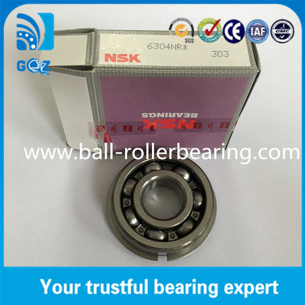 Grease Lubrication NSK 6304NR Deep Groove Ball Bearing with Snap Ring Open type
