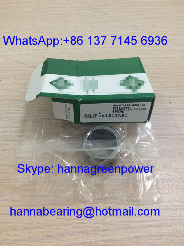 HK1512-AS1 / HK1512 Open End Drawn Cup Needle Roller Bearing With Oil Hole , 15*21*12mm